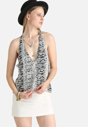 Goldie This Moment Python Print Camisole Black