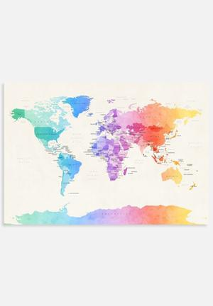 ArtPause Watercolour Political Map Of The World 3 Art