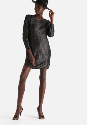 Vero Moda Finch Sequin Short Dress Occasion Black