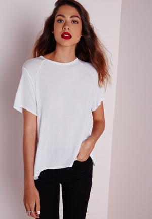 Round Neck Dip Hem T Shirt
