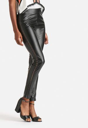 Runner PU Leather Lace Up Leggings