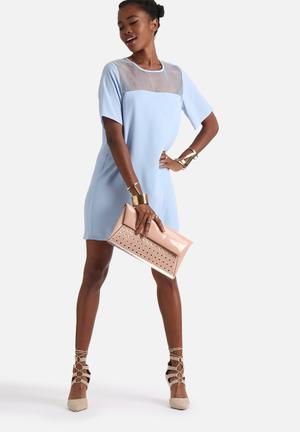 Neon Rose Minimal Insert Shirt Dress Casual Blue