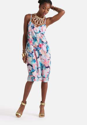 Neon Rose Acid Floral Midi Slip Dress Casual Multi