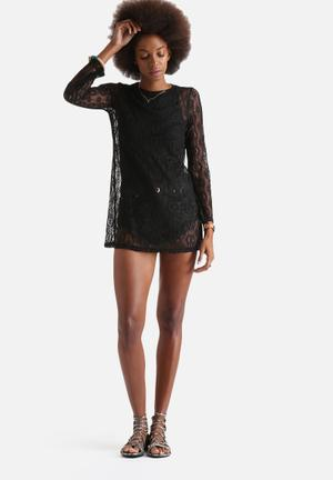 Influence. Crochet Lace Long Sleeve Top Blouses Black