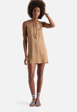 Lace Up Front Suede Shift Dress
