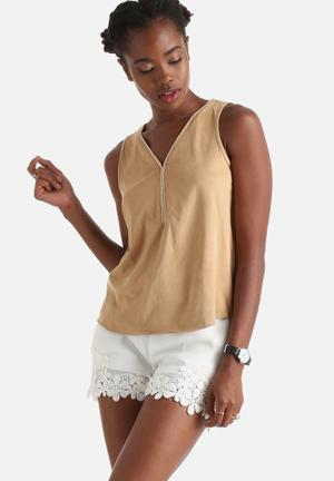 Influence. Suede Braided Vest Top Blouses Tan