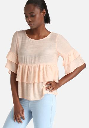 Y.A.S Jamica Frill Top Blouses Peach
