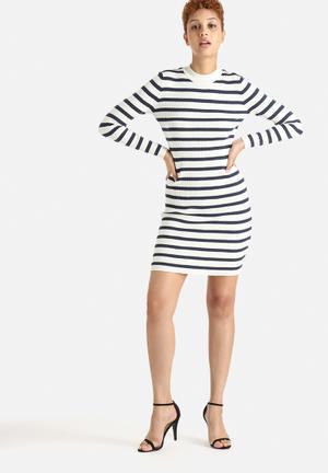 Selected Femme Mifa Striped Rib Dress Casual Navy & Cream