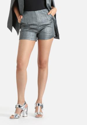 Lavish Alice Stripe Bow Detail Shorts Silver, Metallic & Black