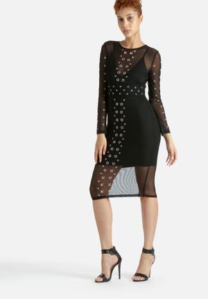 Lavish Alice Mesh Overlay Eyelet Midi Dress Occasion Black