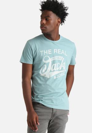 Jack & Jones Raffa Tee T-Shirts & Vests Mineral Blue