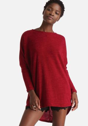Influence. Jersey Long Sleeve Tunic Top Blouses Burgundy