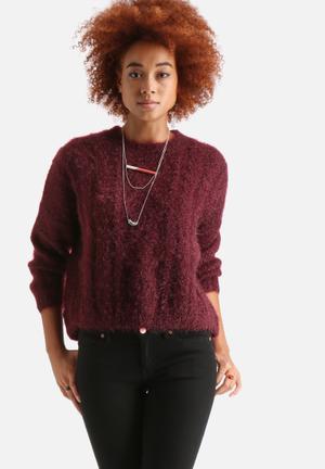Ribbed Knitted Split Back Jumper