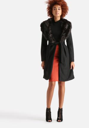 Long Tie Belt Faux Fur Collar Coat