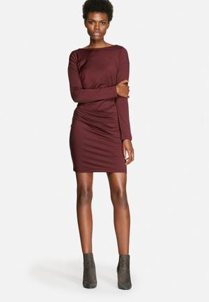 VILA Polish Ruched Dress Formal Burgundy