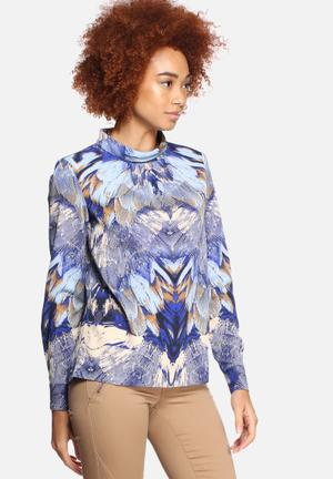 Y.A.S Feather Blouse Blue & Beige