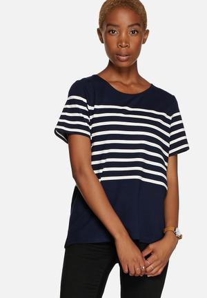 Selected Femme Malmik Top Blouses  Navy & White