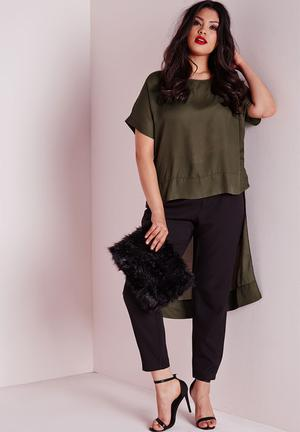 Missguided Plus Size Drop Hem Chiffon Top Khaki