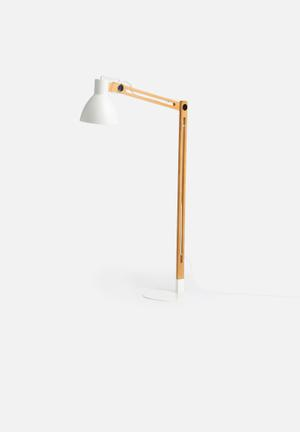 White & Wood Floor Lamp
