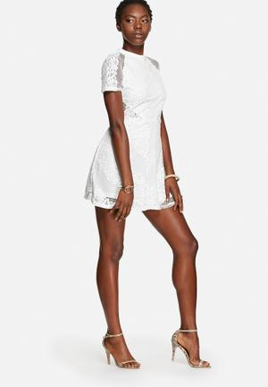 Glamorous Lace Mesh Skater Dress Occasion White