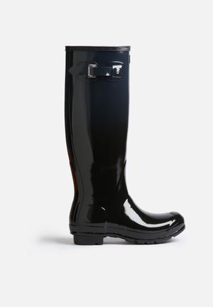 Hunter Original Tall Gloss Boots Black & Slate Grey
