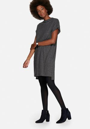 ADPT. Fly Boxie Dress Casual Dark Grey Melange