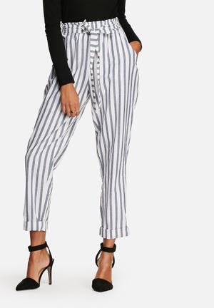 Chloe stripe paper bag pants