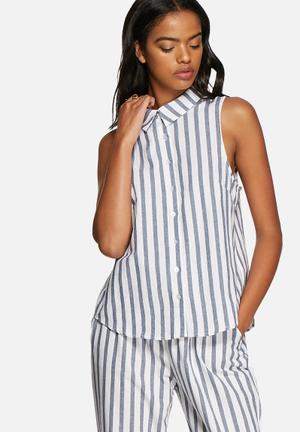 Chloe stripe sleeveless shirt