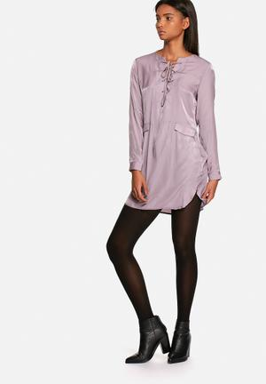Luxe lace up tunic dress