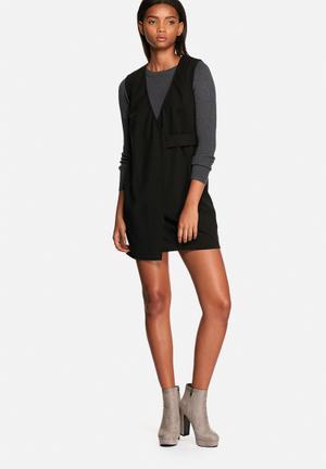 Neon Rose Drill Wrap Dress Formal Black