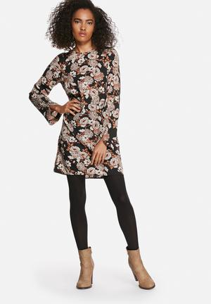 Winter floral tunic dress