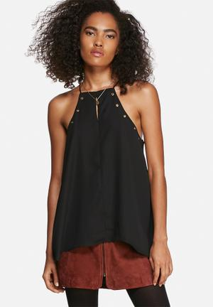 Influence. Eyelet Top T-Shirts, Vests & Camis Black