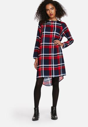 Native Youth Check Dress Casual Red