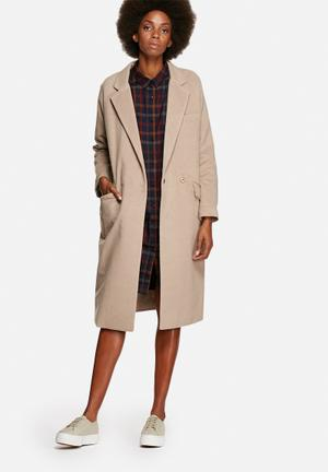 Longline brushed overcoat