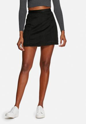 Native Youth Brushed A-line Mini Skirt Black