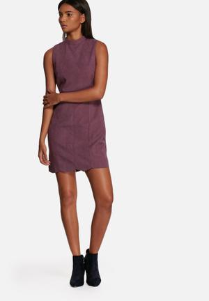 Neon Rose Suede Button Back Shift Dress Casual Purple