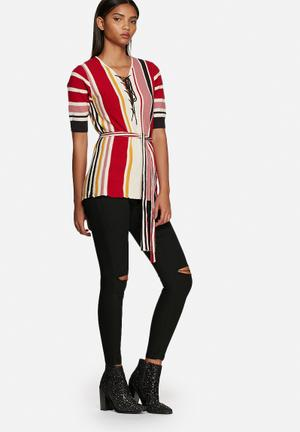 Glamorous Striped Top Blouses Cream, Red, Yellow & Pink
