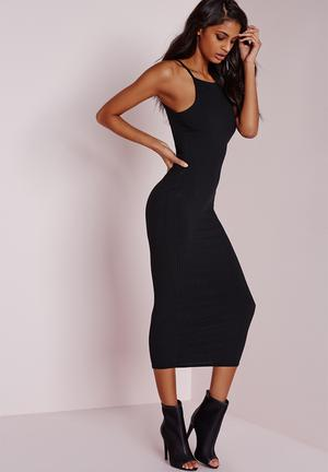 Ribbed strappy midi dress