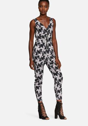 Neon Rose Explosive Geo Print Jumpsuit White, Navy, Purple