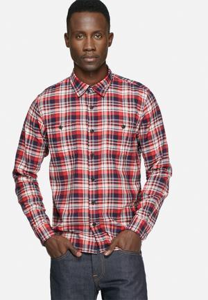 Edwin Labour Slim Shirt Red