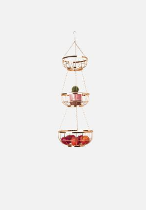 Present Time Open Grid Hanging Basket Set Kitchen Accessories Metal