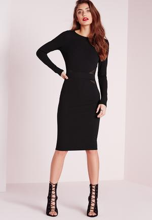 Mesh-back midi dress