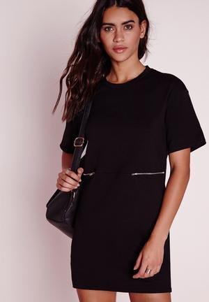 Zip detail T-shirt dress