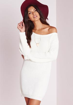 Off-shoulder jumper dress