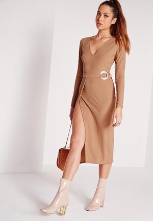 V-neck belted mini dress