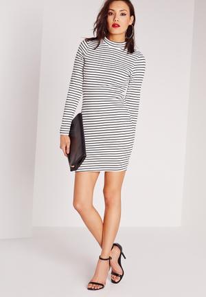 Textured stripe rib bodycon dress
