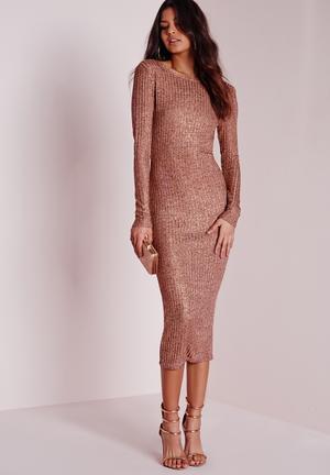 Sheer knitted midi dress