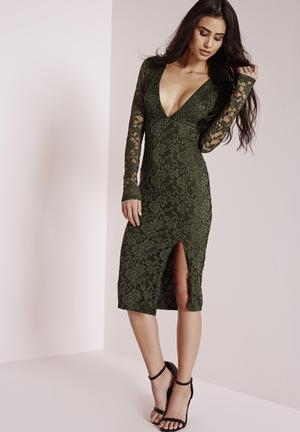 Lace long sleeve side split dress