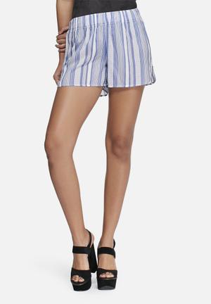 Vero Moda Reba Stripe Shorts Blue