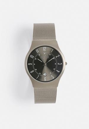 Skagen Grenen Watches Steel Mesh And Titanium Case Watch